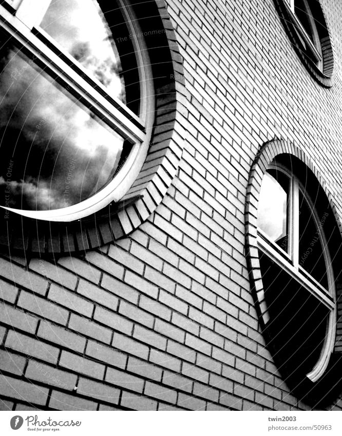 windows Sky brick black round perspective clouds Wall (barrier)
