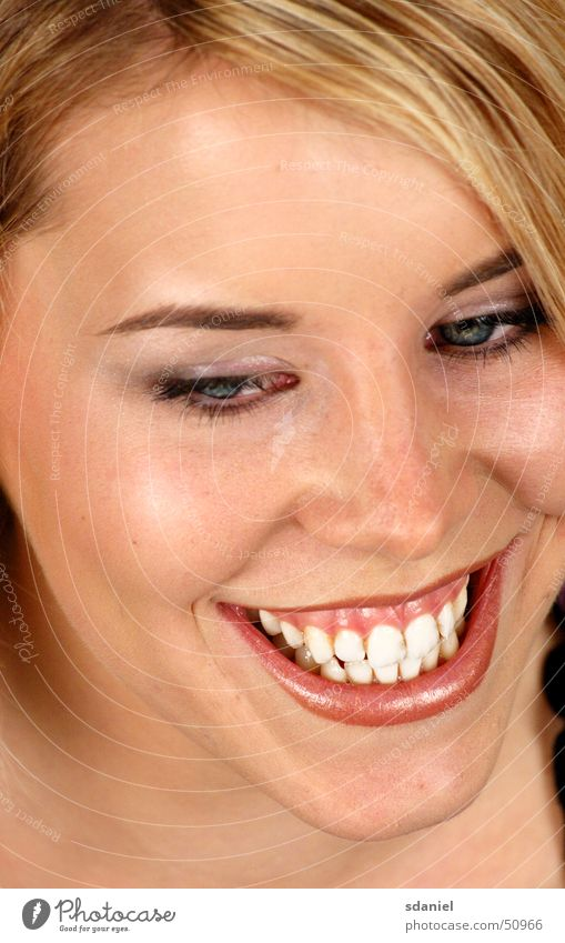 Woman Laughter Blonde Friendliness Teeth Smiley Dazzling white teeth