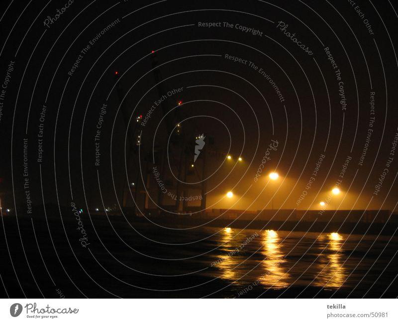 port impression Fog Night Harbour Hamburg Water