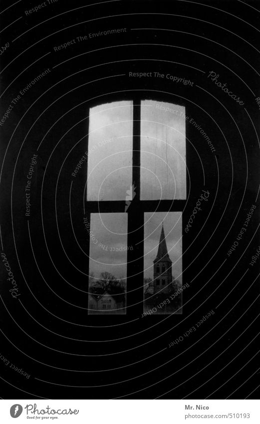 Hallelujah Small Town Church Manmade structures Building Window Dark Window frame Vantage point Calm Meditative Religion and faith Perspective Mysterious