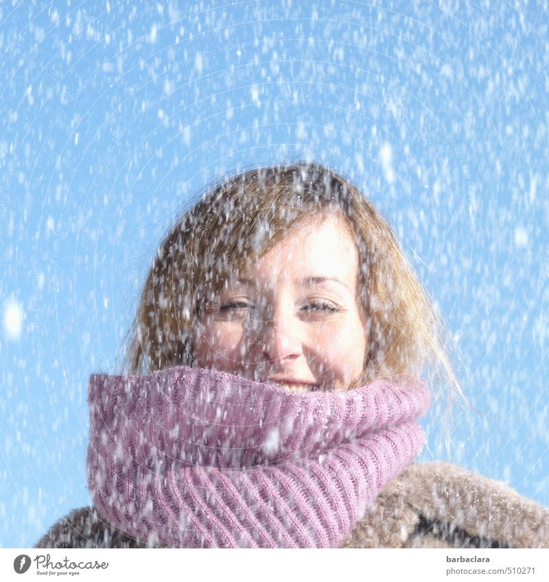 SNOOZE!!!! Feminine Woman Adults 1 Human being 18 - 30 years Youth (Young adults) Nature Sky Winter Snow Snowfall Coat Scarf Laughter Fresh Cold Wet Blue Violet