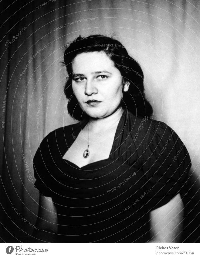 Beautiful Woman Dress Plump Feminine Earnest Clothing Black & white photo 1950 ursel woman rossmann ursula Chain Detail Face
