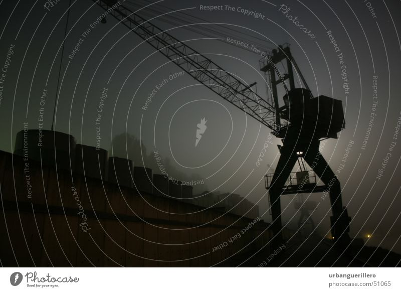 night crane Night Dark Fog Crane Low-key Dock Criminality Break-in Black n8s Silhouette Harbour Graffiti sneak Creep Shipyard
