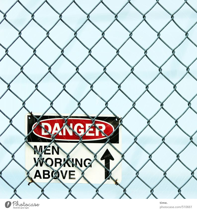 Sky City Lanes & trails Work and employment Fear Arrangement Signs and labeling Characters Signage Threat Construction site Protection Safety Network Risk Fence