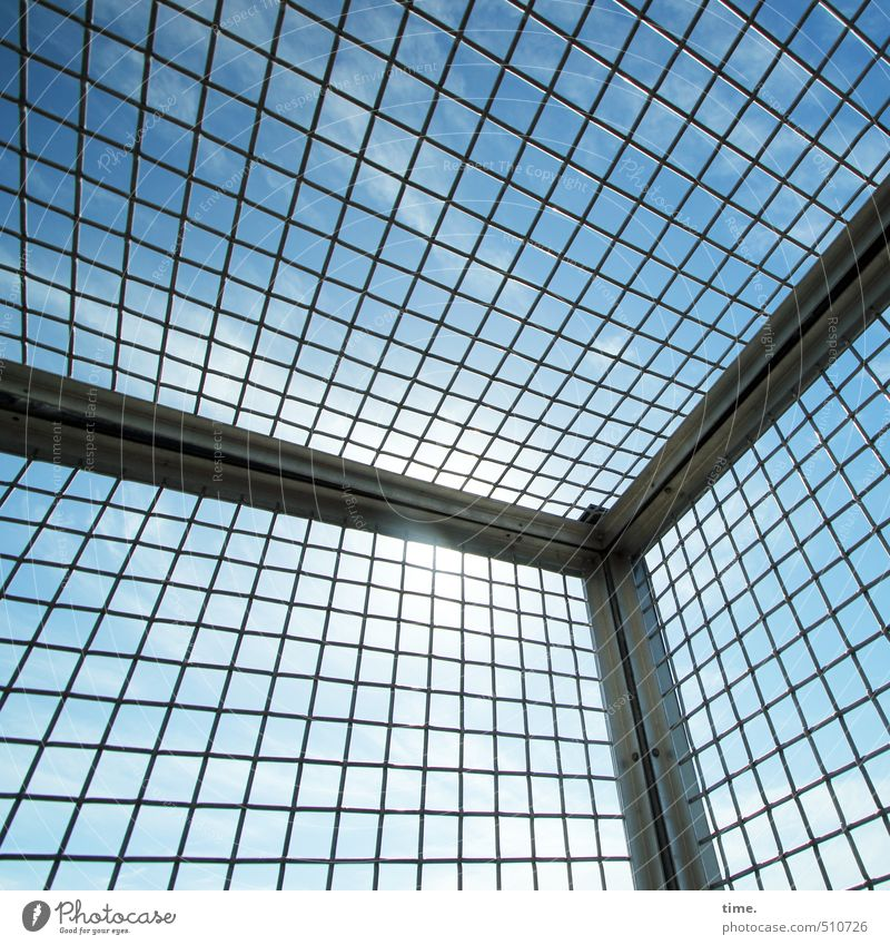 precautionary measure Sky Clouds Autumn Beautiful weather Tower Manmade structures Building Grating Metal grid Mesh grid safety grid Air Design Naked Network