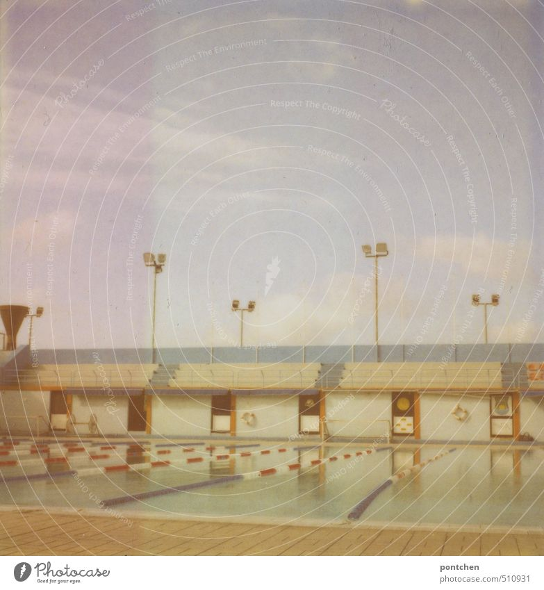 Polaroid of an empty outdoor pool with spectators. Swimming stadium Aquatics Swimming & Bathing Sporting Complex Swimming pool Sports Open-air swimming pool