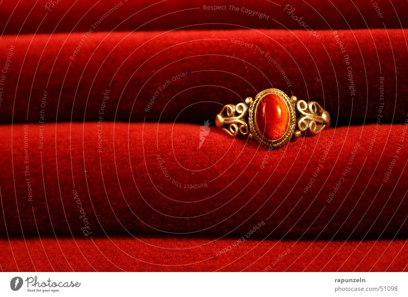 Ring on velvet Velvet Red Romance Gift Jewellery Progress Luxury Circle Gold Kitsch Wrinkles Noble