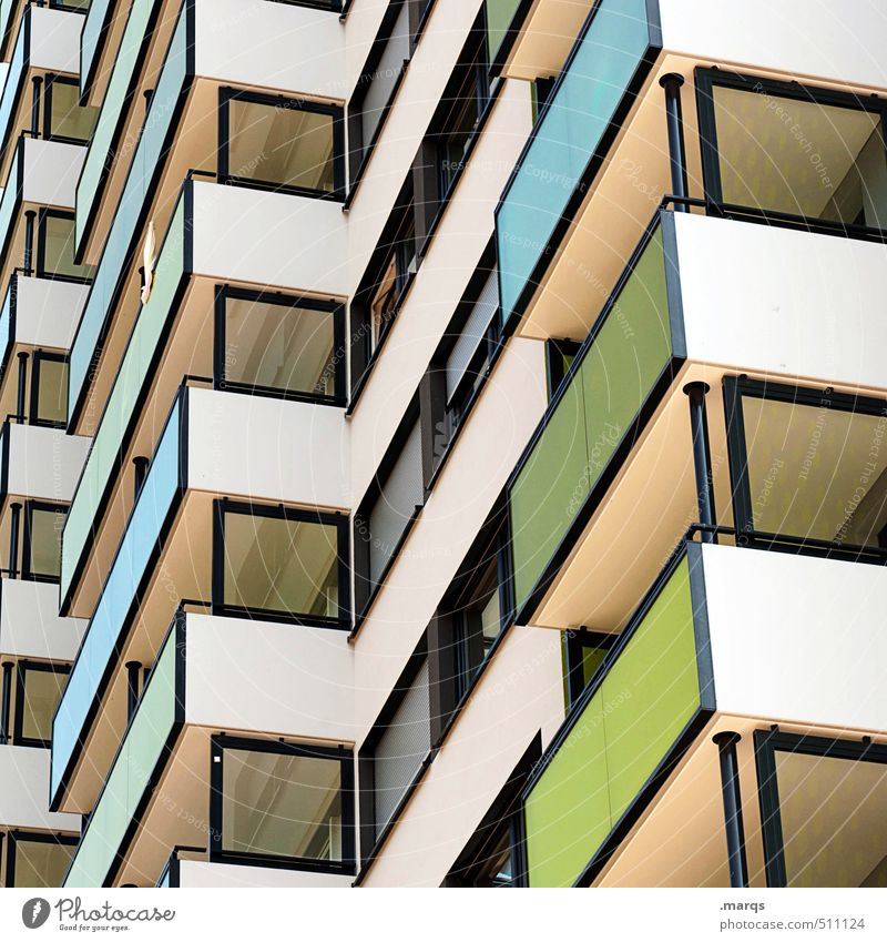 643 Living or residing House (Residential Structure) Building Architecture Facade Balcony Window Line Sharp-edged Simple Tall Colour Perspective Colour photo