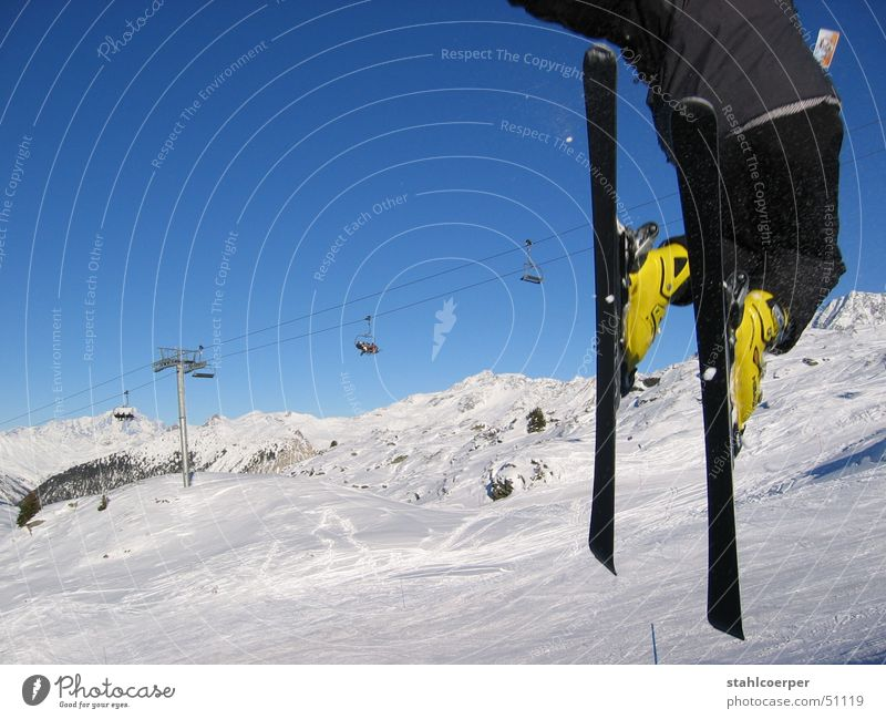 Joy Winter Sports Snow Mountain Jump Power Flying Skiing Alps Blue sky Winter sports Trois Vallées