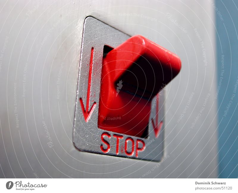 Red Electricity Stop Arrow Elevator Buttons Switch Kill Emergency Quit Lever Emergency shutdown
