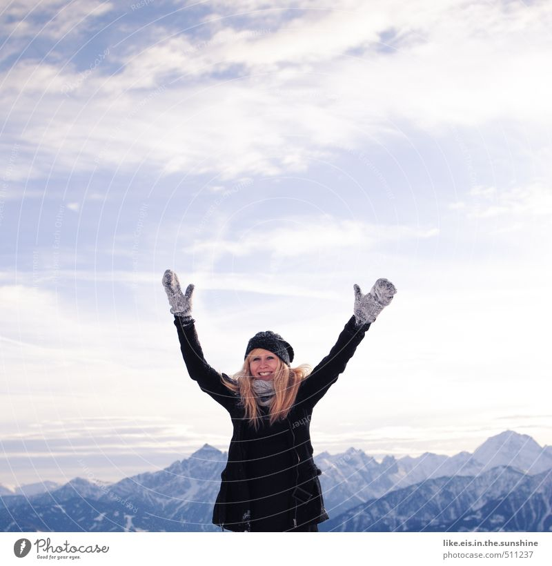 Woman Youth (Young adults) Vacation & Travel Beautiful Young woman Landscape Joy Winter Far-off places Adults Mountain Life Feminine Snow Playing Freedom