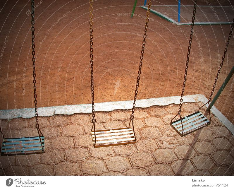 solitude Park Swing Playground Loneliness game Mexico Earth Sand red