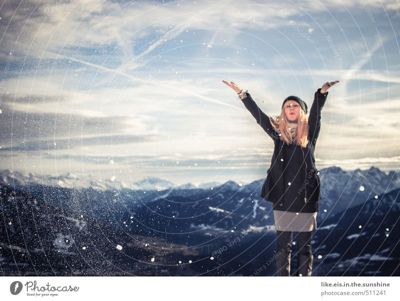 Woman Nature Youth (Young adults) Vacation & Travel Beautiful Landscape Young woman Joy Far-off places Winter Adults Environment Mountain Life Feminine Snow
