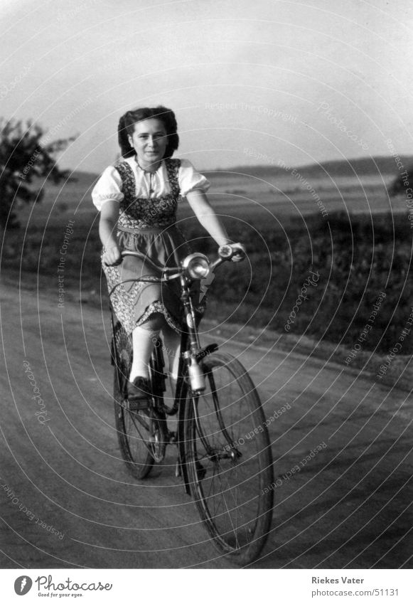 Woman Joy Laughter Bicycle Field Transport Footpath Blouse Hannover Apron Sock Degersen 1941