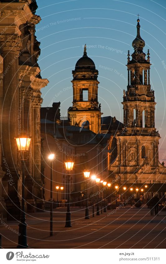 light chain Tourism Trip Sightseeing City trip Human being Architecture Culture Sky Night sky Dresden Saxony Germany Europe Town Capital city Old town Church