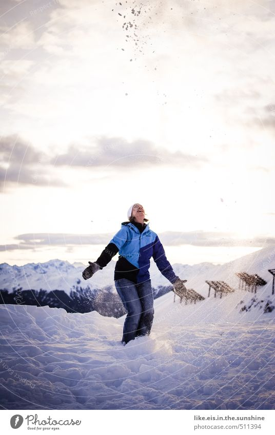 Woman Nature Vacation & Travel Youth (Young adults) Landscape Young woman Joy Adults Mountain Life Snow Feminine Playing Freedom Happy Snowfall