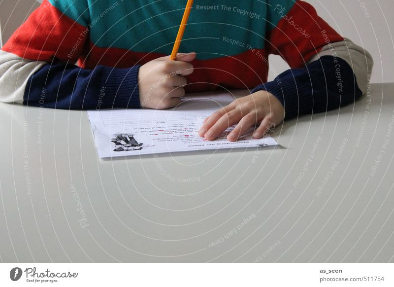 homework Boy (child) Infancy Hand Fingers 3 - 8 years Child Sweater Paper Piece of paper Pen Think Reading Write Blue Gray Orange Red Turquoise White Calm