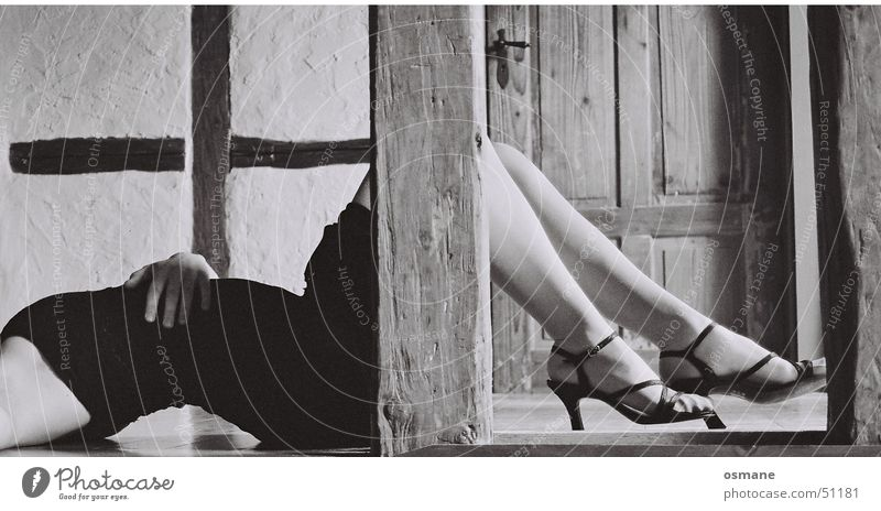 Woman White Black Eroticism Gray Feet Footwear Legs Skin Door Back Floor covering Dress Lie Pole High heels
