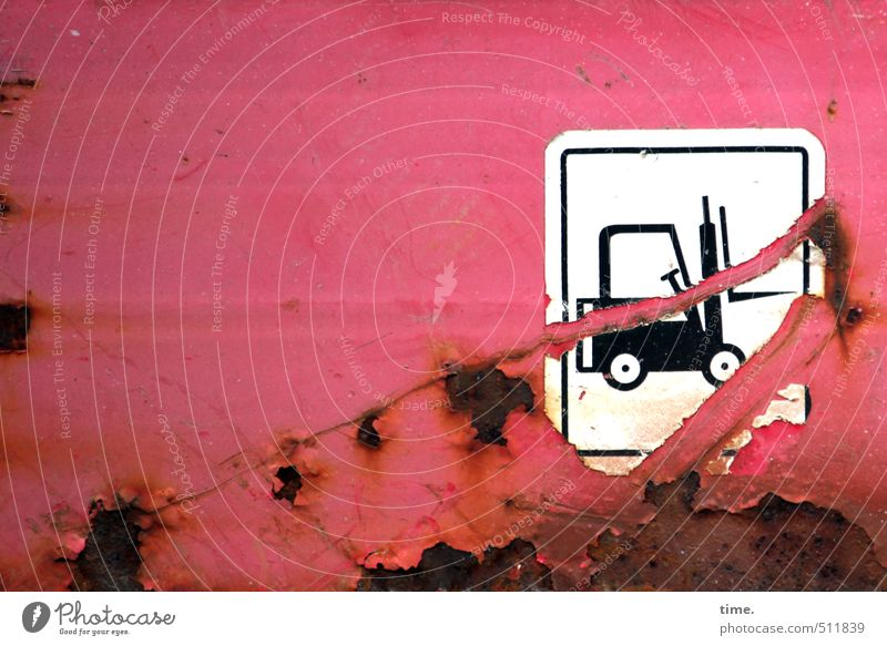 Red Metal Transport Signs and labeling Arrangement Broken Transience Change Safety Construction site Logistics Decline Watchfulness Rust Trashy