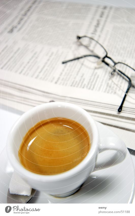Business Coffee Eyeglasses Newspaper Media Café Sugar Espresso Wake up Current Arise