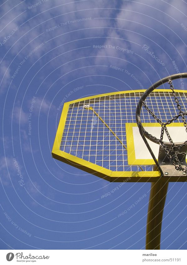basketball Basket Yellow Playing Basketball Sports Ball Sky Contrast