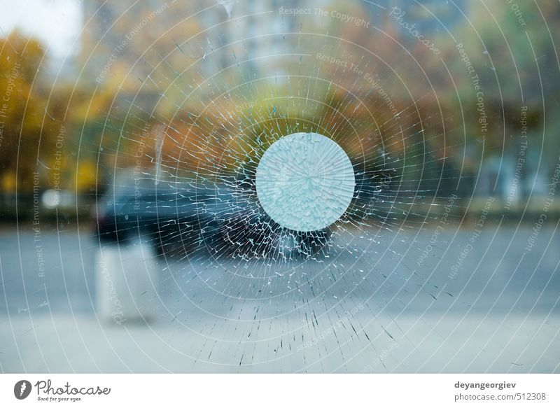 Cracked glass and city background Design Mirror Nature Town Black White Force Insurance Destruction broken Crack & Rip & Tear shattered window Hole Shatter