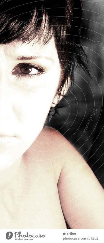 Half view Woman Emotions Romance Dreamily Looking Eyes Face Fear