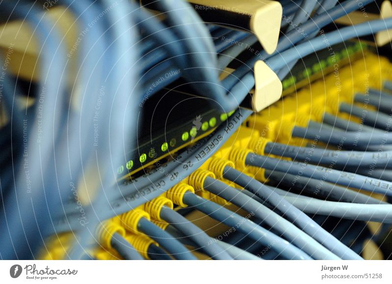 Blue Yellow Computer Network Technology Cable Connection Information Technology Muddled Connector Electrical equipment Aircraft carrier