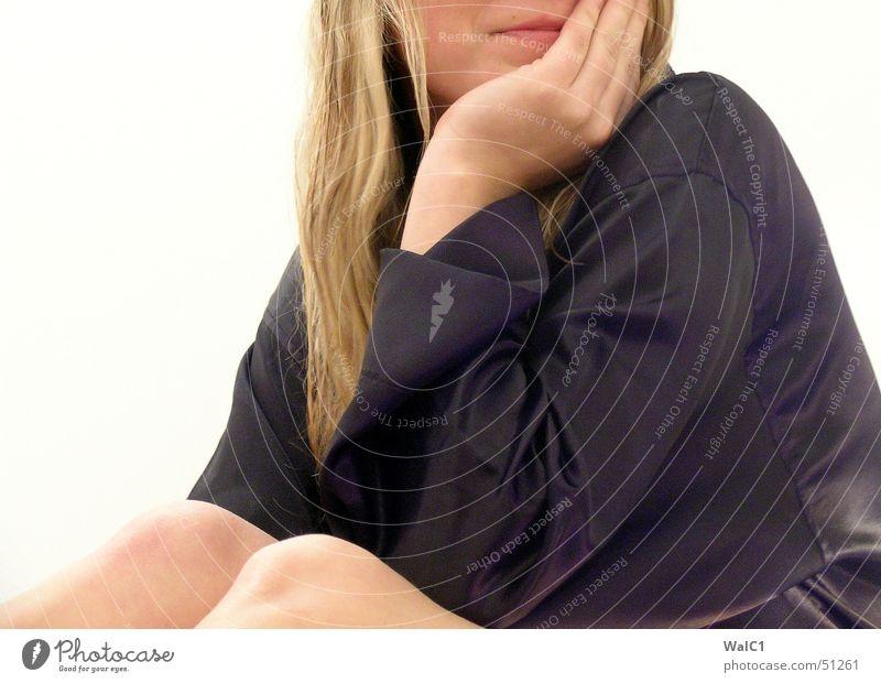 Think of it Woman Underwear White Blonde Longing Hand Black Bathrobe Silk Knee Lady Eyes ponder Legs
