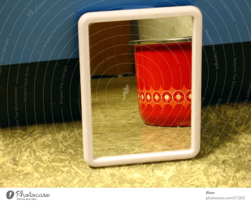 Blue Red Style Wood Perspective Retro Image Mirror Hide Pot Cupboard