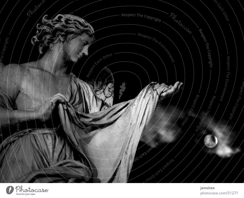 resignation Sculpture Woman Moonlight Clouds Hand Rome Italy Night Dark Baroque