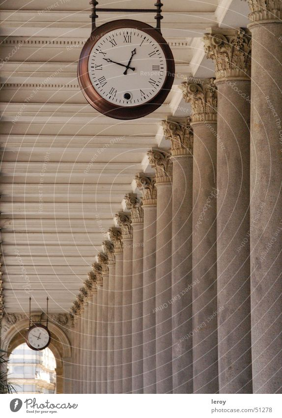 colonade time Time Clock Karlovy Vary Colonnades Transience Exterior shot Column colonaded Architecture