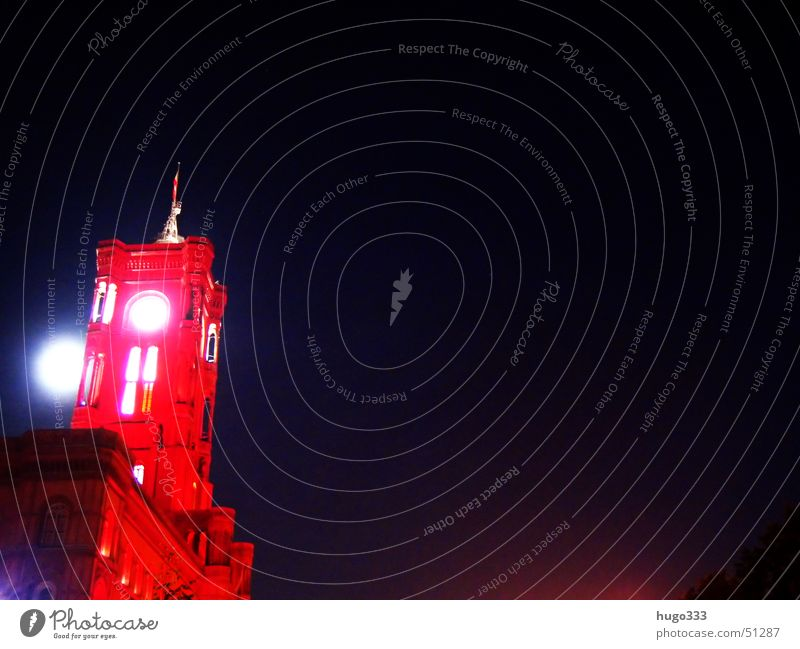moon behind tower Red Brilliant Light Night Long exposure Rotes Rathaus Moon Tower Blue Berlin festival of lights townhall tower.