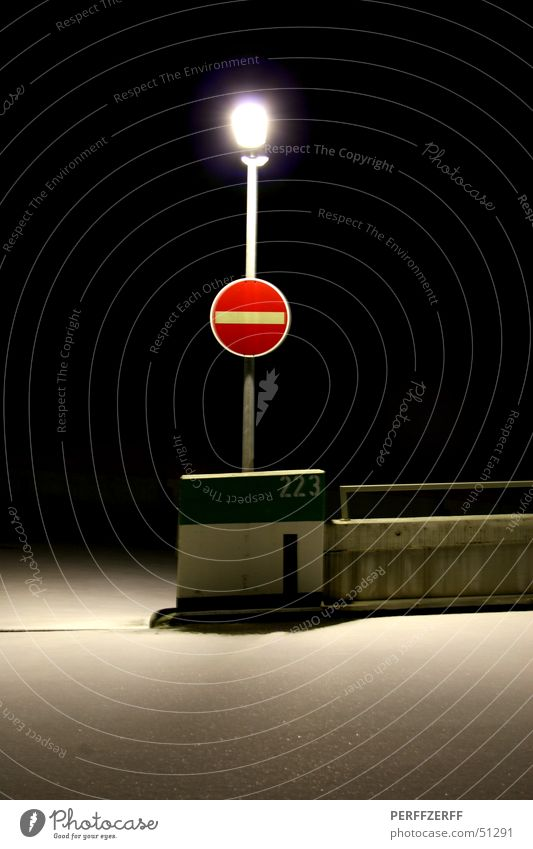 one-way street One-way street Red Transport Lamp Night Loneliness Lantern Dark Winter Parking garage Signs and labeling Snow Calm perff