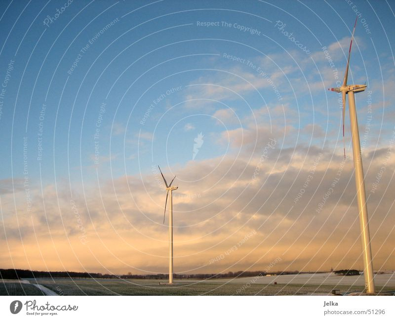 Beautiful Landscape Clouds Wind energy plant Plain Electricity generating station