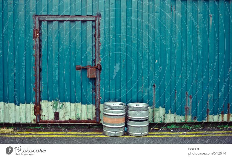 Closed Wall (barrier) Wall (building) Blue Safety Lock Container Tin Beer keg Old Rust Hiding place Storehouse Door Mysterious Keep Colour photo Exterior shot