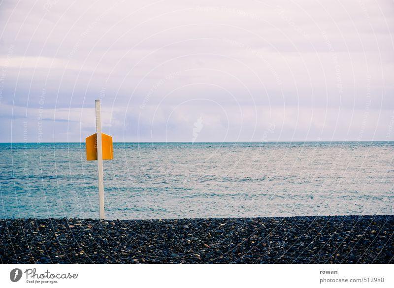 horizon Coast Beach Ocean Infinity Yellow Wooden stake Pole Stone Stony Horizon Calm Sky Clouds in the sky Off-Season Colour photo Exterior shot Deserted