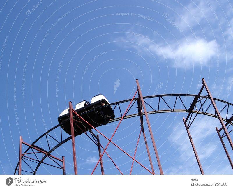 Rattle rattle rattle rattle Roller coaster Clouds Railroad tracks Carriage Amusement Park Events Sky Blue Old Scaffold