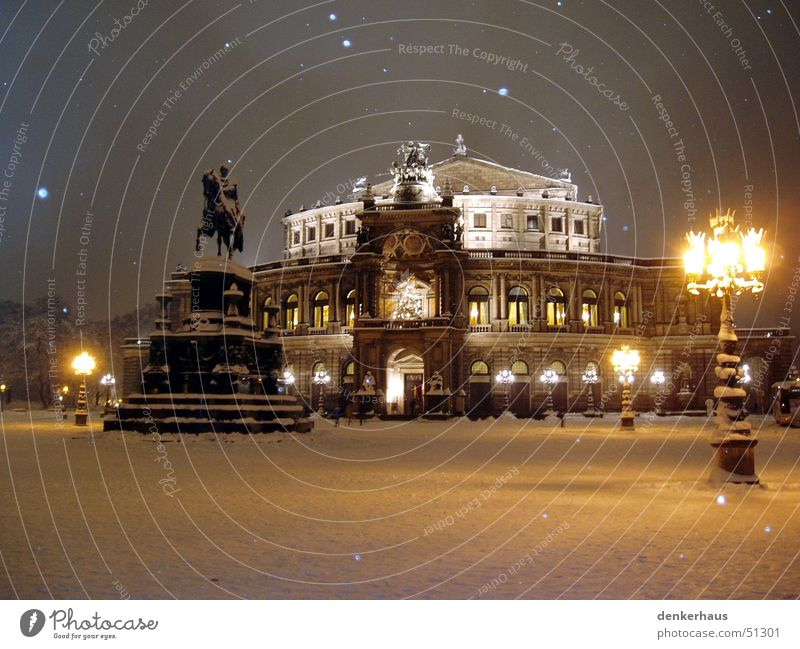 The lamppost Semper Opera Lantern Dresden Night Light Statue Horse Building House (Residential Structure) Places Historic Snow Romance Snowflake Winter Peaceful