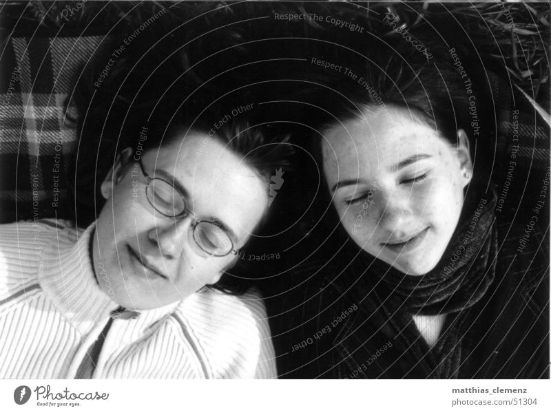 reverie Dream Together Friendship Woman 2 Lie Face Black & white photo