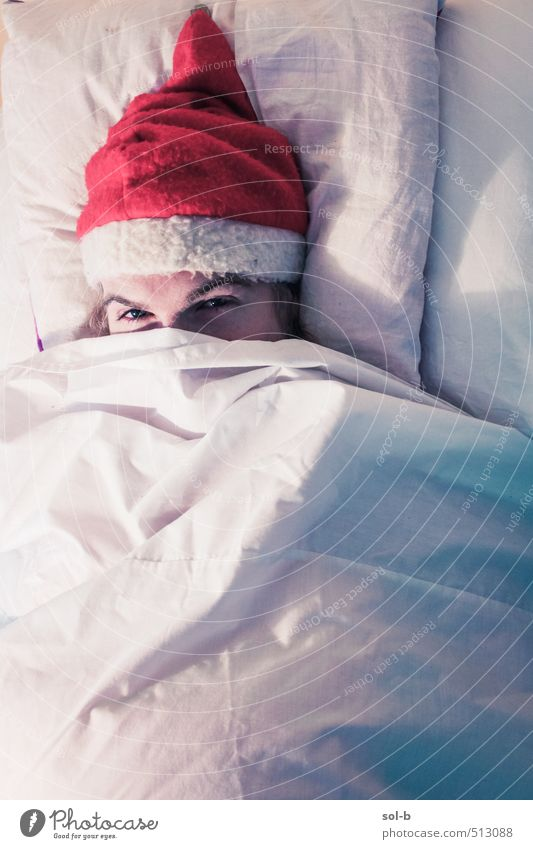 blanket Human being Youth (Young adults) Christmas & Advent Relaxation Young man 18 - 30 years Adults Eyes Funny Feasts & Celebrations Work and employment