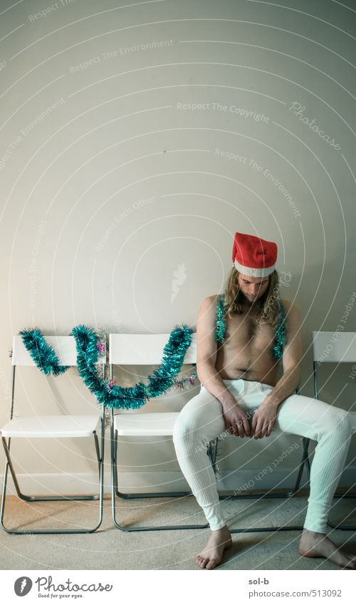 sclaus Human being Youth (Young adults) Naked Christmas & Advent Relaxation Loneliness Young man 18 - 30 years Adults Funny Feasts & Celebrations Party