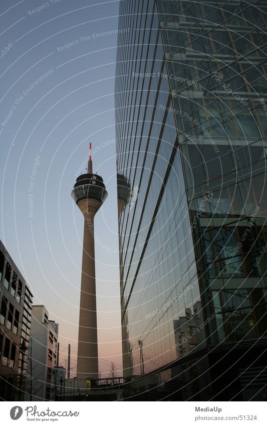 Building Business Work and employment Glass Facade High-rise Duesseldorf Television tower Rheinturm