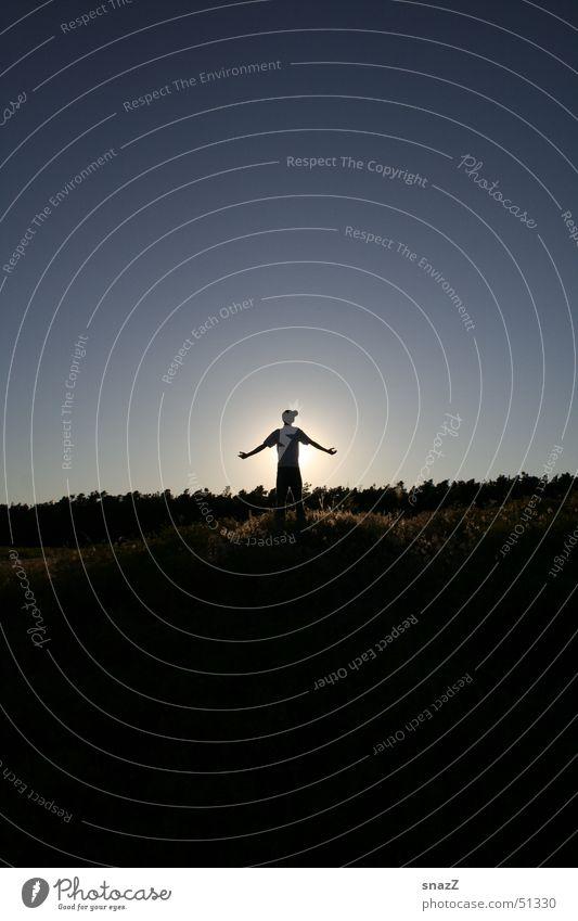 Sky Man Blue Beautiful Sun Calm Black Forest Freedom Religion and faith Lighting Power Back Arm God Deities