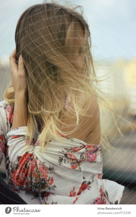 wind Joy Beautiful Hair and hairstyles Skin Summer Human being Youth (Young adults) 1 18 - 30 years Adults Sky Town Building Roof Fashion T-shirt To enjoy