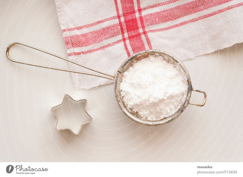 powdered sugar and star - baking preparation Christmas & Advent White Red Metal Table Cooking & Baking Kitchen Appetite Candy Delicious Cake Tablecloth Towel