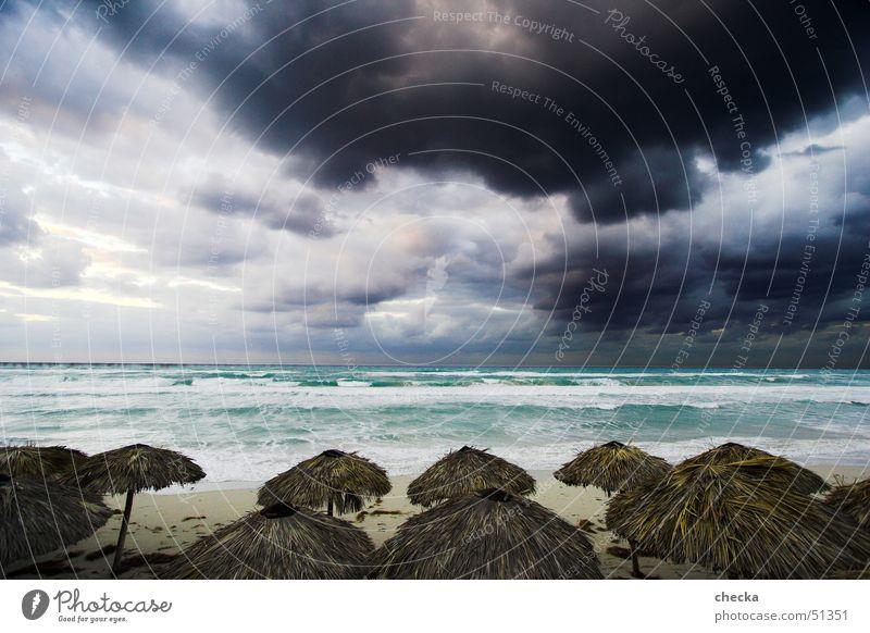 Water Sky Ocean Blue Summer Beach Vacation & Travel Clouds Dark Gray Sand Rain Waves Coast Weather Leisure and hobbies