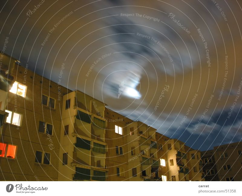 Moon in the Ghetto Prefab construction East Rostock Clouds Long exposure Romance Creepy