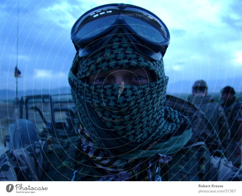 Deployment in Afghanistan Military Soldier Man Adults Eyes Sky Desert Headscarf Shemag Authentic Exceptional Threat Cool (slang) Far-off places Cold Natural