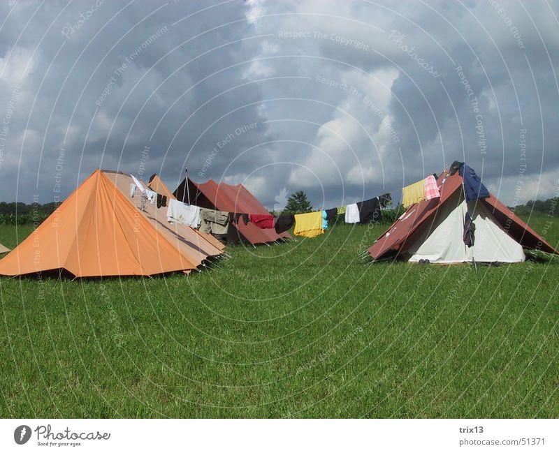 camp life Tent Clouds Clothesline Bad weather Gray Storm Camping Sky Orange sound Multicoloured Thunder and lightning Rain Storage